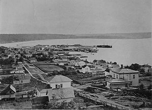 Regrading in Seattle - Looking south from Pine Street on the south slope of Denny Hill, 1880. The wide bay at the foot of Beacon Hill is now the location of the SoDo neighborhood.