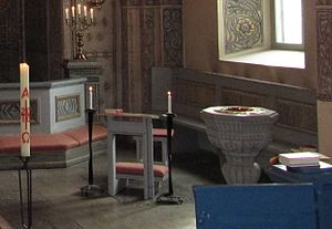 Sedilia - A free-standing sedile with desk in Alsike Church in Sweden