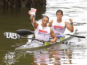 Martínez y Castañón en meta del Sella 2009.