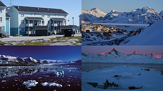 Sermersooq - Clockwise from top left: Nuuk, Kulusuk, Tasiilaq, Kangertittivaq