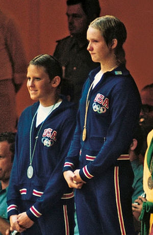 Sandy Neilson - Shirley Babashoff and Neilson (right) at 1972 Olympics