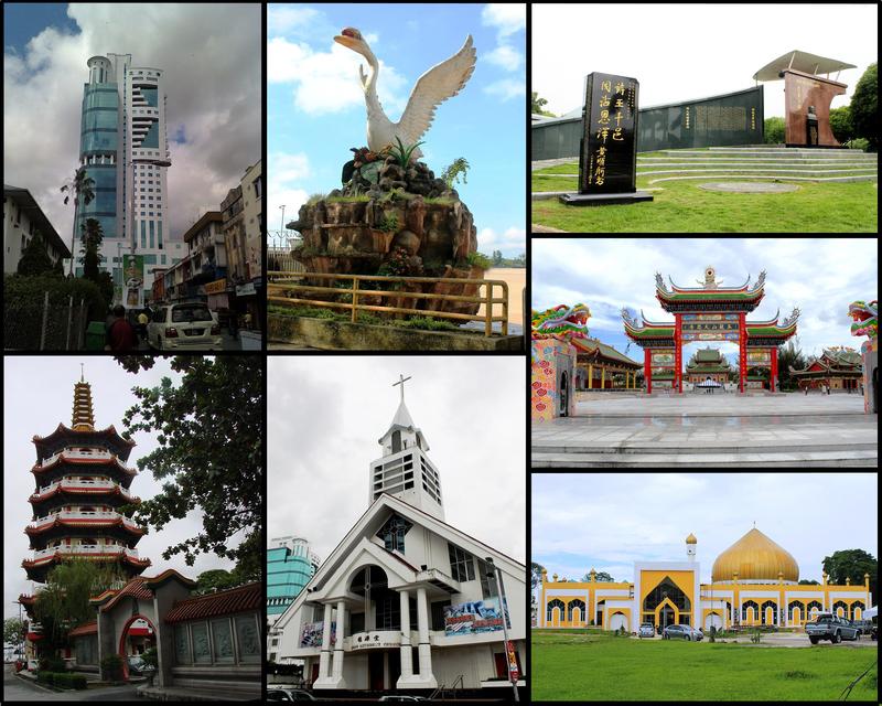 Clockwise from top right: Wong Nai Siong Memorial Garden, Jade Dragon Temple, An-Nur Mosque, Masland Methodist church, Tua Pek Kong Temple, Wisma Sanyan, and swan statue.