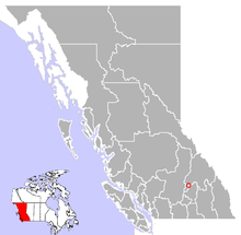 Location of Sicamous in British Columbia