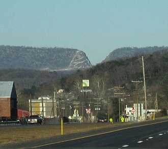 Interstate 68 - The Sideling Hill road cut, photographed from I-70 east of the mountain