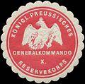 Siegelmarke K.Pr. Generalkommando X. Reservekorps W0346812.jpg