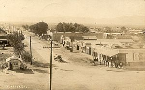California State Route 14 - Looking south at the corner of Sierra Highway and Lancaster Blvd. in Lancaster in 1913