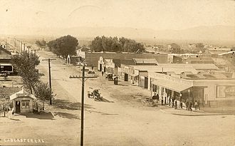 Sierra Highway - 1918, Lancaster, California. Looking south on Sierra Highway, at the intersection with Lancaster Boulevard.