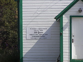 Sign for Saint Saviour's Anglican Church, Carcross, Yukon.jpg