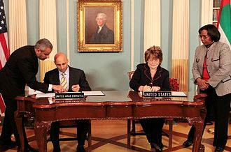 U.S.–UAE 123 Agreement for Peaceful Civilian Nuclear Energy Cooperation - U.S. Under Secretary for Arms Control and International Security Ellen Tauscher and United Arab Emirates Ambassador Yousef Al Otaiba exchange diplomatic notes to bring the Agreement for Peaceful Civilian Nuclear Energy Cooperation into force. (17 December 2009)