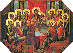 In Simon Ushakov's icon of the The Last Supper...