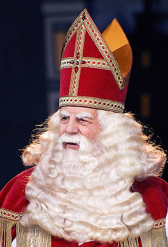 Saint Nicholas, known as Sinterklaas in the Netherlands, is considered by many to be the original Santa Claus Sinterklaas 2007.jpg