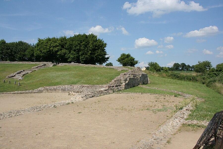 Site archéologique de Jublains, France. Site du théatre.