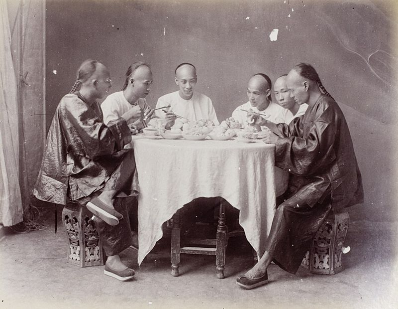 Six men having a meal by Lai Afong, c1890s.jpg