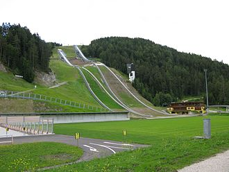 Toni-Seelos-Olympiaschanze - The medium and normal hill in the background and the ski stadium to the left