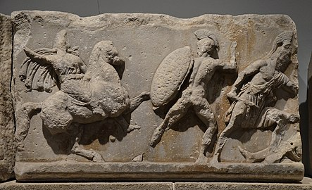 Slab from the Amazonomachy frieze from the Mausoleum at Halikarnassos, Mausoleum at Halicarnassus, British Museum (8244586177).jpg