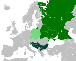Countries where a West Slavic language is the national language Countries where an East Slavic language is the national language Countries where a South Slavic language is the national language