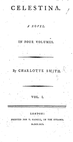 Celestina (novel) - Title page from the first edition of volume one of Celestina