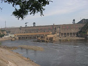 Sanmenxia Dam - Downstream face of dam in 2007