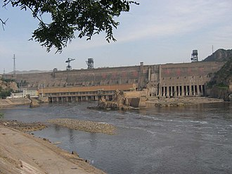 Sanmenxia Dam - Downstream face of dam in 2007