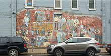 This Mural depicts some of the Ojibwe people that helped build the Mable Tainter Theater in Menomonie, Wisconsin.