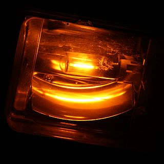 Sodium-vapor lamp gas-discharge lamp that uses sodium in an excited state to produce light