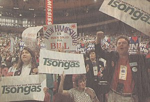 Paul Tsongas - New Hampshire delegates for Tsongas on the DNC convention floor..