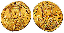 Obverse and reverse of a gold coin, showing the bust of a crowned woman, holding scepter and globus cruciger