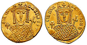 Irene of Athens - This solidus struck under Irene reports the legend BASILISSH, Basilisse.