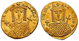 Staurakios (eunuch) - Gold solidus of Empress Irene during her sole rule (r. 797–802).