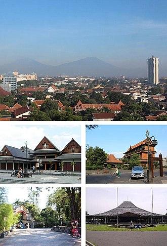 Surakarta - Clockwise: Skyline of Solo, Omah Sinten, Pura Mangkunagaran, Sriwedari, Windujenar Market