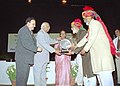 Somnath Chatterjee giving away the Maulana Abul Kalam Azad Literacy Awards, organised by the Maulana Azad Education Foundation in New Delhi. The Union Minister for Social Justice & Empowerment, Smt. Meira Kumar is also seen.jpg
