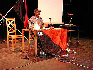 Anarchism in South Africa - A ZACF activist speaking at an SAC-organised labour seminar in Sweden in 2005.