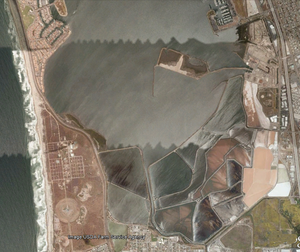 South Bay Salt Works - Satellite view of the salt ponds.