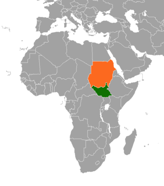 Sudanese nomadic conflicts - Sudan (orange) and South Sudan (green) shown within Africa