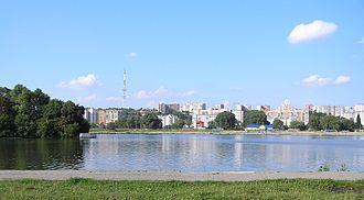 Khmelnytskyi, Ukraine - Khmelnytskyi's riverside skyline on the Southern Bug.