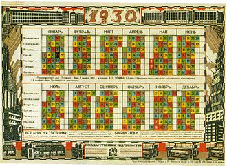 Week - Soviet calendar, 1930. Five colors of five-day work week repeat.