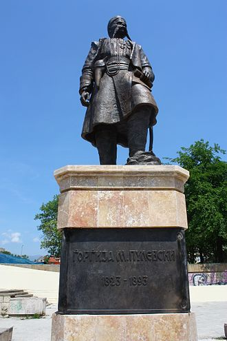Macedonian nationalism - Statue of Georgi Pulevski, a major figure who endorsed the concept of an ethnic Macedonian identity, resulting in the foundation of Macedonian nationalism.
