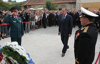 Sergey Lavrov - Lavrov in Maribor, Slovenia, during the opening ceremony for a museum commemorating the Soviet soldiers who died in Nazi captivity, 8 July 2014