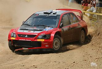 Acropolis Rally - Harri Rovanperä with a Mitsubishi Lancer WRC05 at the 2005 event.