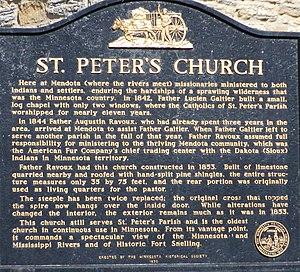 Mendota, Minnesota - Image: St. Peter's Mendota plaque 2006