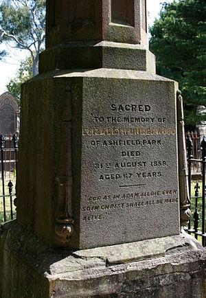 Elizabeth Underwood - Elizabeth Underwood's gravestone in the cemetery at St John's Ashfield