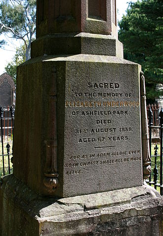 Elizabeth Underwood - Elizabeth Underwood's gravestone in the cemetery at St John's Ashfield
