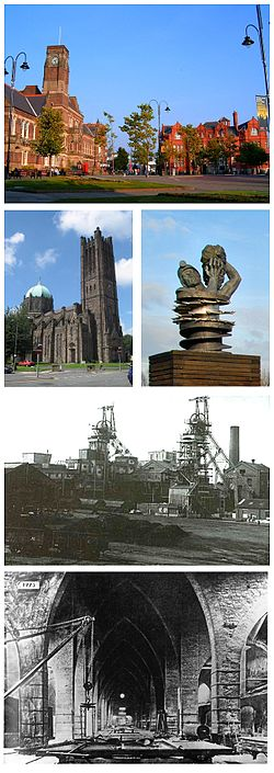 A montage of the town hall, St Mary's Lowe House Catholic Church, the Anderton Shearer Monument, the Ravenhead Colliery Mine Works, and the British Plate Glass Casting Hall, Ravenhead