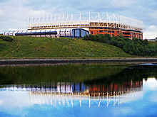 Delightful Exterior View Of Stadium Above The River Wear