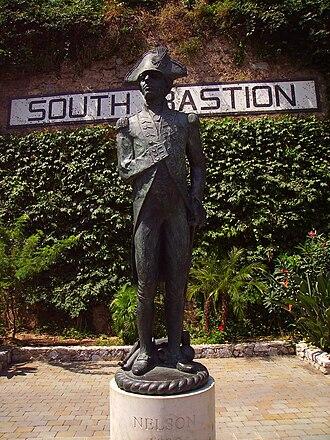 Trafalgar Cemetery - Image: Statue of Lord Horatio Nelson in Trafalgar Road, Gibraltar