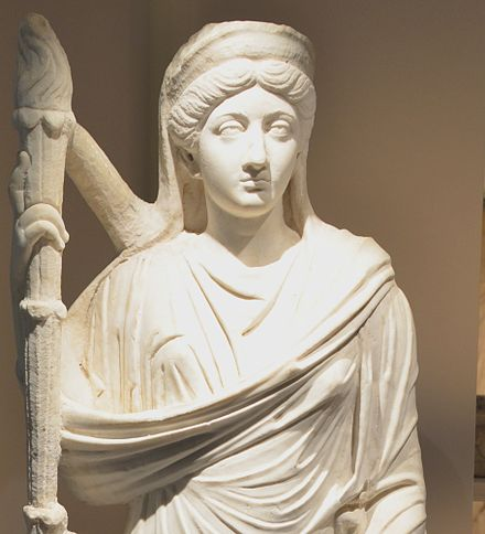 Lucilla depicted as Ceres Statue of Lucilla detail.jpg