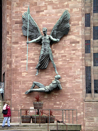 Jacob Epstein - St Michael's Victory over the Devil (1958), on the new Coventry Cathedral