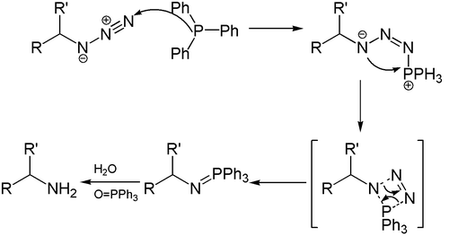 Reaction mechanism of Staudinger reaction and reduction.