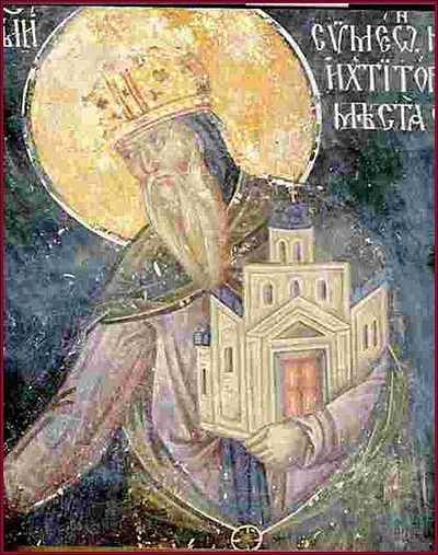 Donor's portrait of Stefan Nemanja, fresco in the Virgin's Church of the Studenica Monastery - Stefan Nemanja