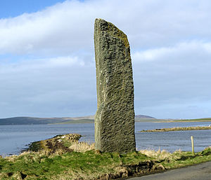 Standing Stones of Stenness - The Stenness Watch Stone stands outside the circle, next to the modern bridge leading to the Ring of Brodgar